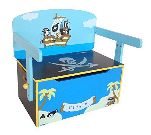 Kiddi Style Caja Almacenaje Juguetes + Banco y Mesa + Silla - Diseño Piratas - Convertible - Madera - par...